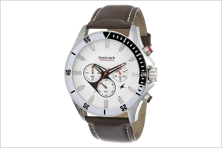 Fastrack Big Time Analog White Dial Men's Watch -NL3072SL01-Best Watches For Men